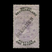 TUT1743 - Bechuanaland - QV £5 lilac & black handstamp 'SPECIMEN'. CLICK FOR FULL DESCRIPTION